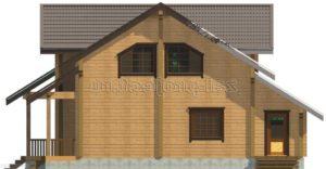 Проект дома из клееного бруса Пб-004 Фасад 2 зеркальный