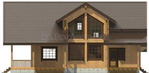 Проект дома из клееного бруса Пб-004 Фасад 3 зеркальный