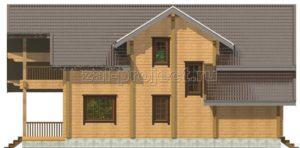 Проект дома из клееного бруса Пб-004 Фасад 4