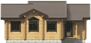 Баня из бревна ПБб-001 Фасад 1